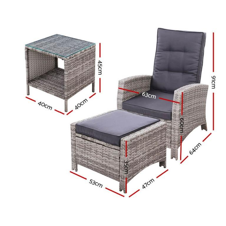 Gardeon Outdoor Patio Furniture Recliner Chairs Table Setting Wicker Lounge 5pc Grey