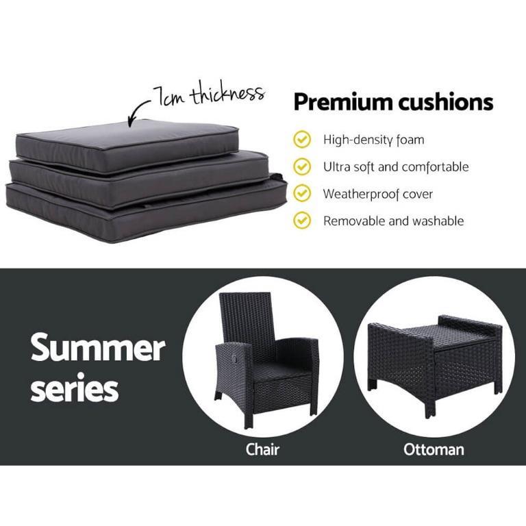 Gardeon Recliner Chair Sun lounge Wicker Outdoor Furniture Patio Garden Ottoman Black