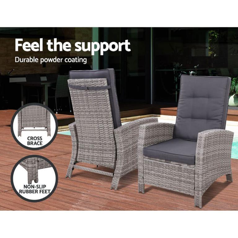 Gardeon Recliner Chair Sun lounge Wicker Outdoor Furniture Patio Garden Ottoman Grey