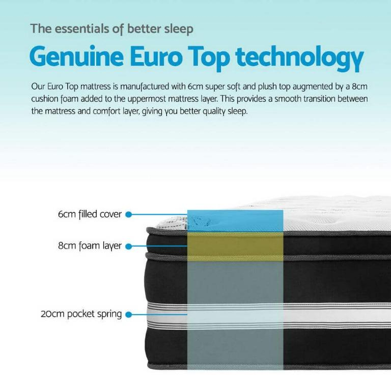 Giselle Bedding King Single Size Mattress Bed COOL GEL Memory Foam Euro Top Pocket Spring 34cm