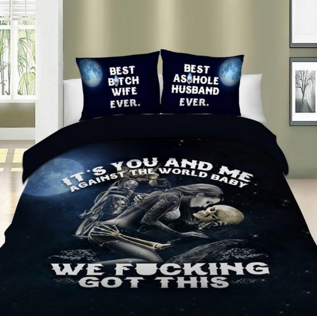 Husband & Wife Digital Print Bedding Set. Duvet Cover & Pillow Cases
