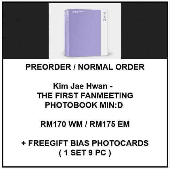 Kim Jae Hwan -  THE FIRST FANMEETING PHOTOBOOK MIN:D - PREORDER/NORMAL ORDER/GROUP ORDER/GO + FREE GIFT BIAS PHOTOCARDS (1 ALBUM GET 1 SET PC, 1 SET GET 9 PC)