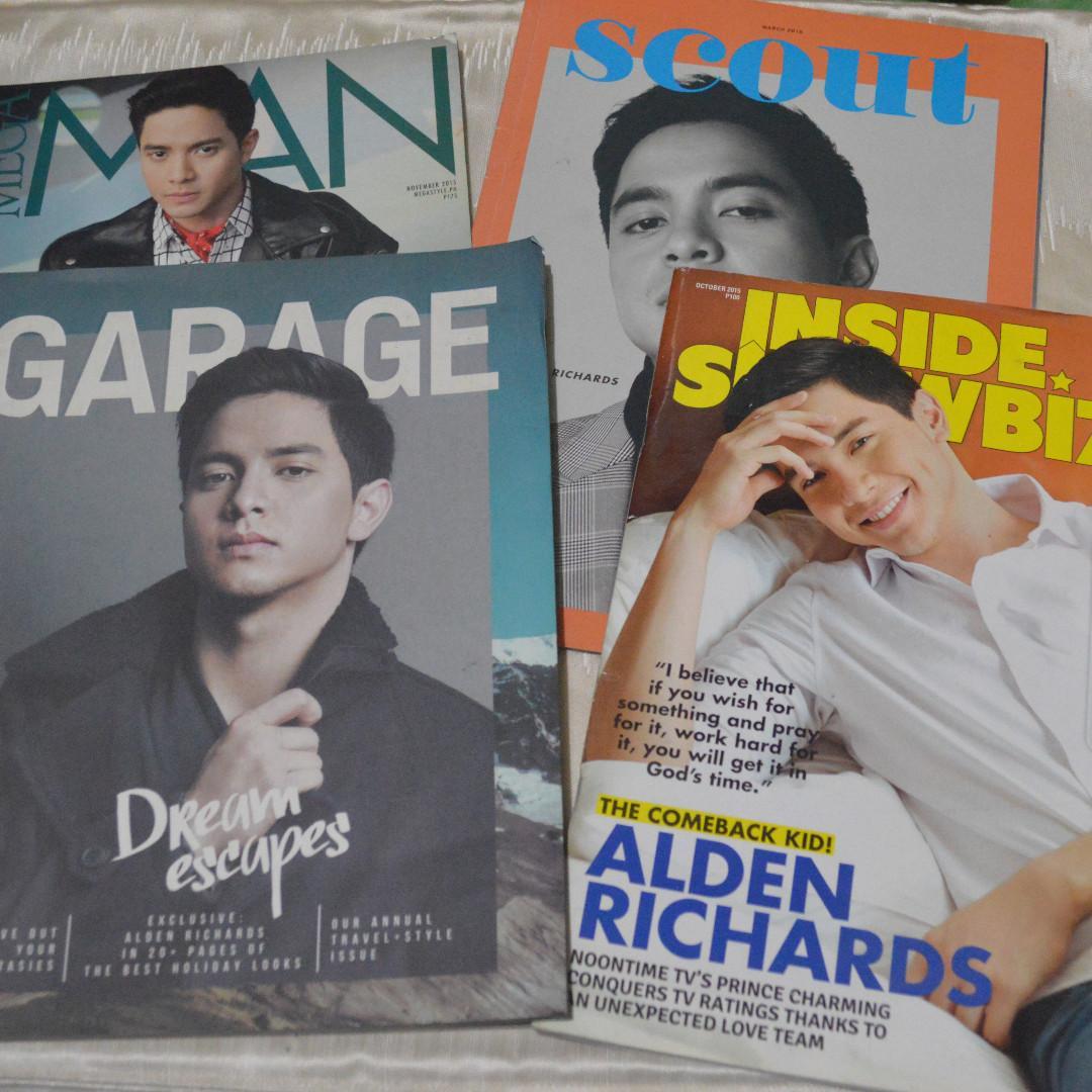 magazine bundle | magazines with alden richards | inside showbiz, garage, scout, meg man