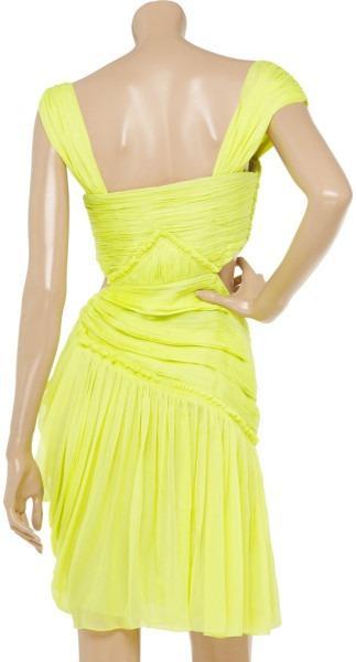 Matthew Williamson Yellow Summer cutout silk chiffon dress