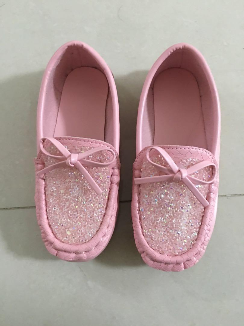 Pink Rhinestone Bow knot leather princess shoes