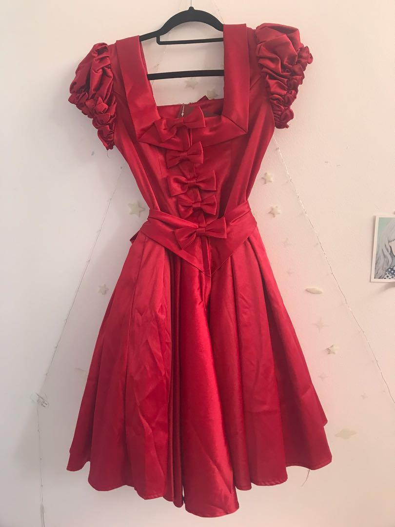 Red Shimmering Lolita Dress (JP Size S) NWT Bodyline Elizabeth Semiformal