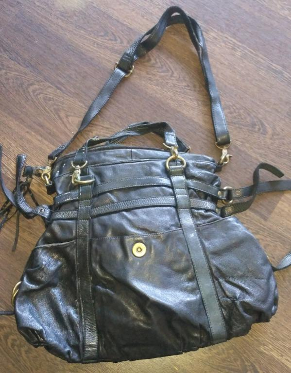 Steve madden leather black hand bag with brass strap details