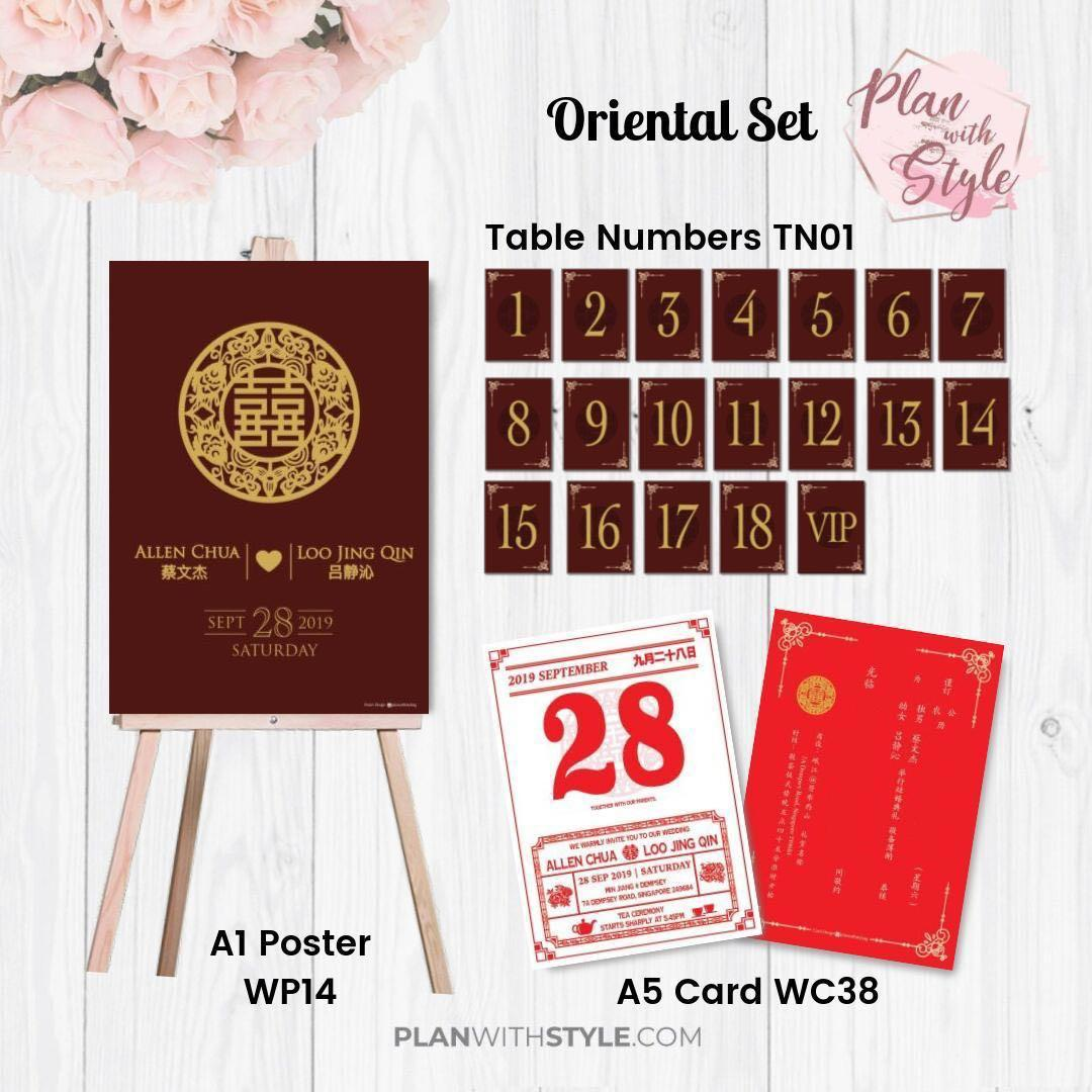 Wedding Cards, Guest Cards, Oriental set, Birthday Posters