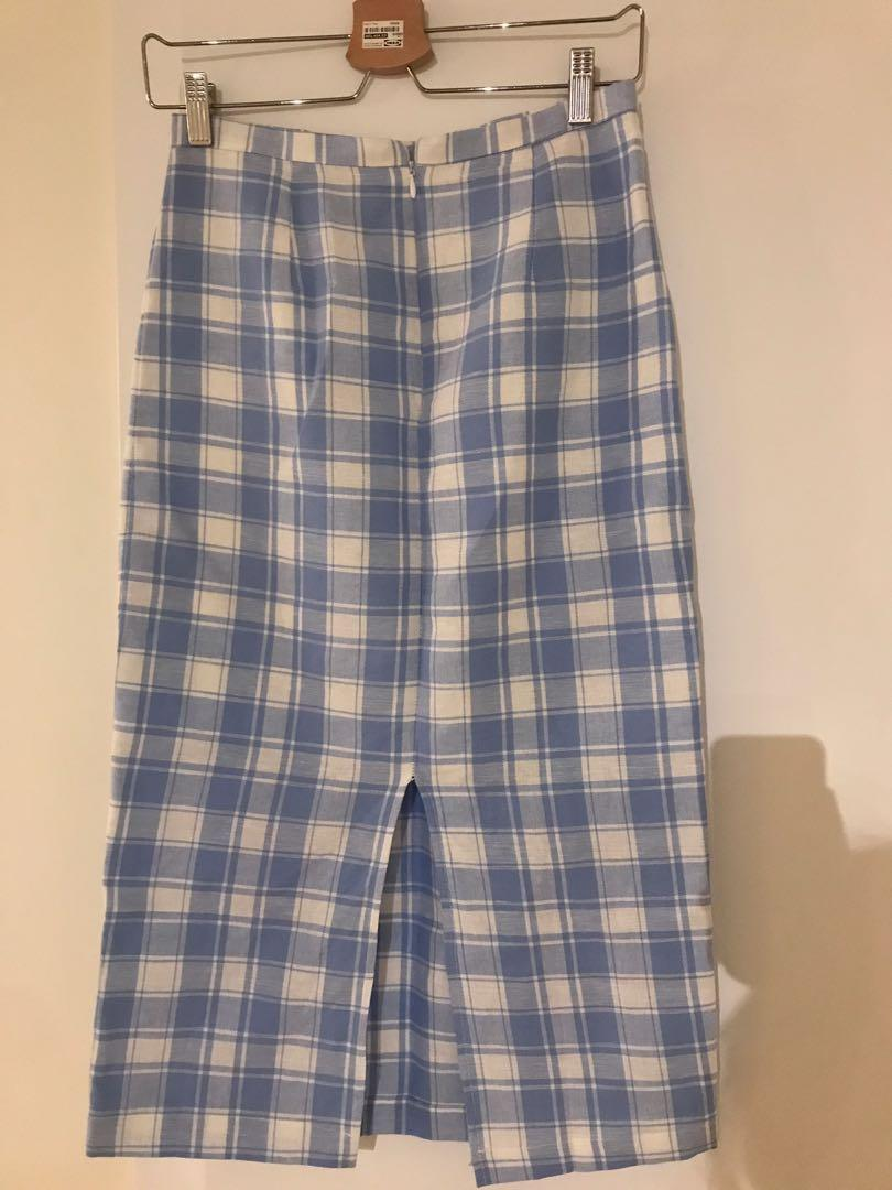 White and Light Blue Plaid Pencil Skirt Fits Size Small