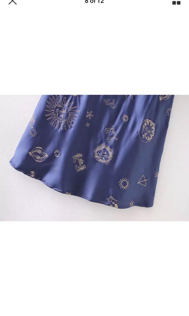 Zodiac Celestial Blue Satin Maxi Dress Sling Realisation Embroidery Dress