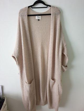 Cotton on 超寬鬆長版開衫柔軟針織外套 杏色