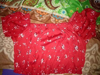 H&M - red top shoulder off (Original)