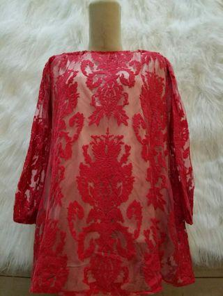 Mididress Red Furing
