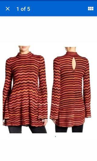 Free People Sweater Dress zig zag bell sleeve orange yellow autumn fall chevron knit small OR medium #SwapCA