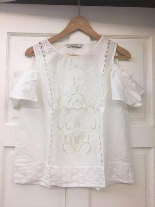 Zara white cotton top