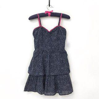 Forever 21 Navy Blue and Pink Trim Dress