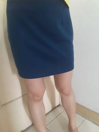 湛藍綠短裙 上班休閒秋季穿搭