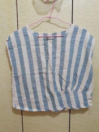 藍色棉麻條紋背心