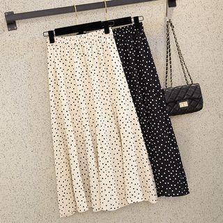 Ready Stock Women Polka Dot Long Skirt