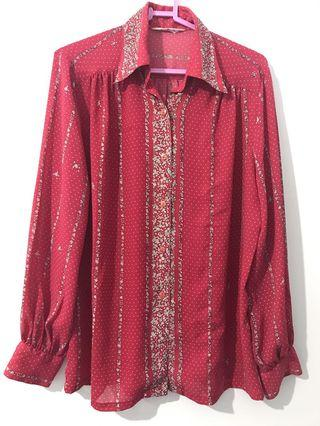 Vintage復古紅白碎花宮庭襯衫