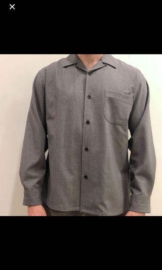 全新僅試穿)GU涼爽灰色襯衫M號