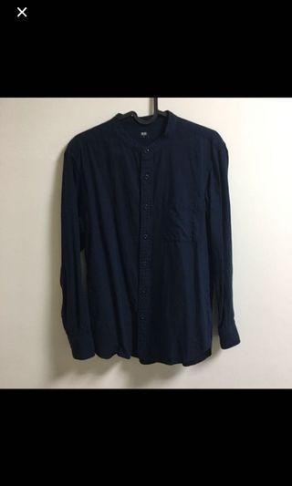 Uniqlo 柔軟斜紋立領襯衫 s號 近全新