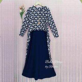 Long Dress Gamis Outer Rompe Biru Dongker Navy