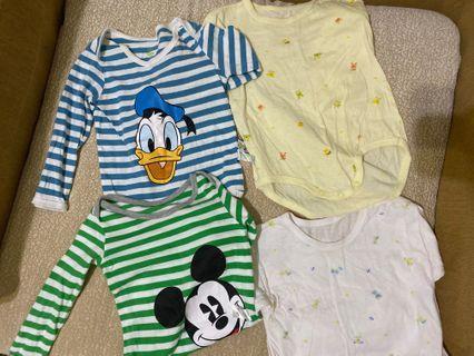 8-9成新嬰兒長袖包屁衣4件