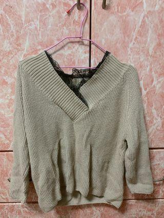 針織領口蕾絲邊毛衣