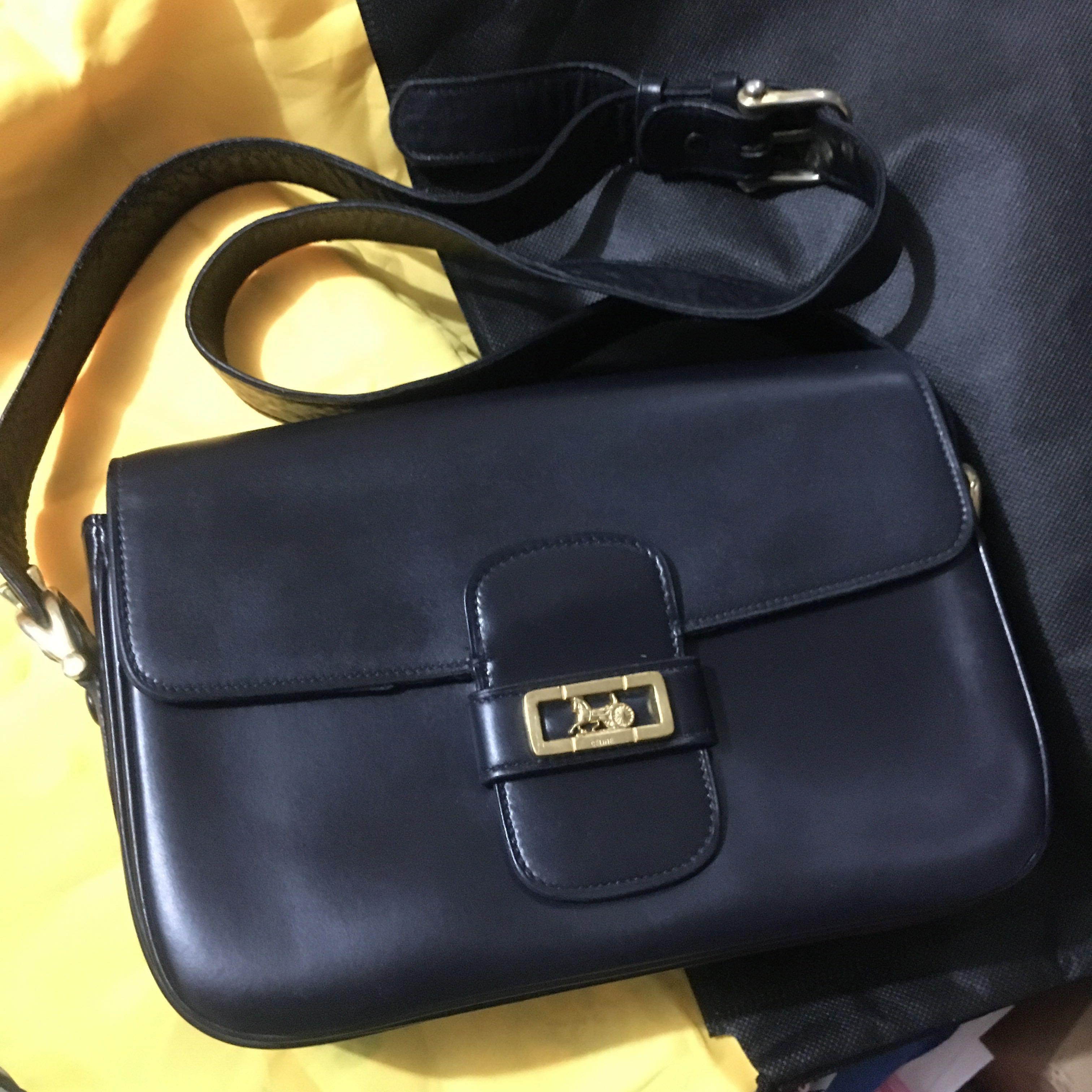 深藍色 celine 馬車 Navy carriage shoulder bag vintage 中古牛皮 斜孭袋款