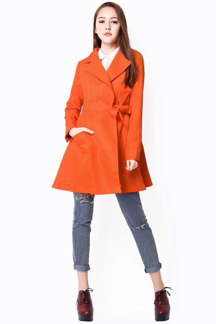 AFA Emma Flare Coat in Poppy Red
