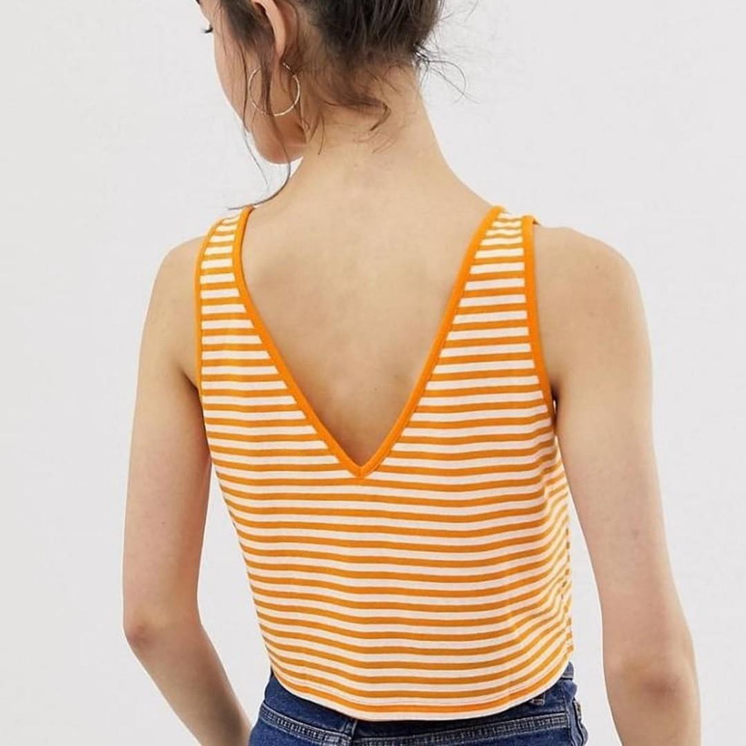 ASOS DESIGN crop vest with v neck and v back in stripe