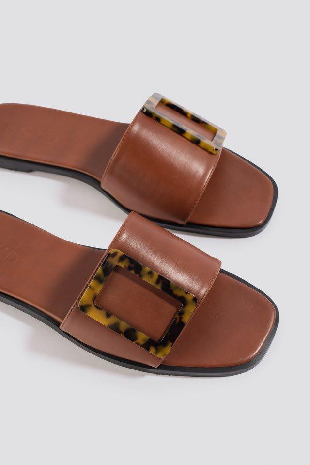 Big Buckle Flat Sandals, Women's