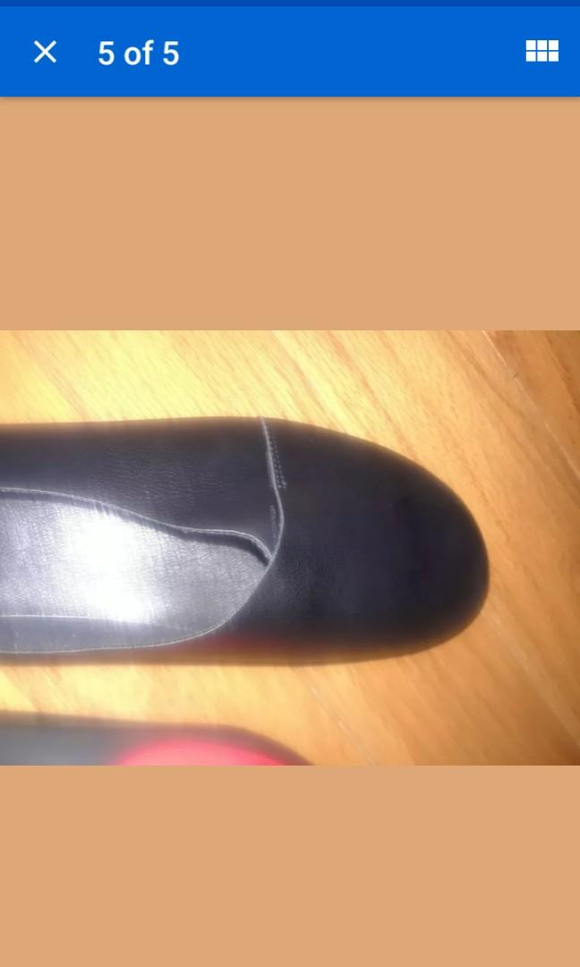 Brand new Black leather ballerina flats retro shoes size 10 / 10.5N vegan synthetic #SwapCA
