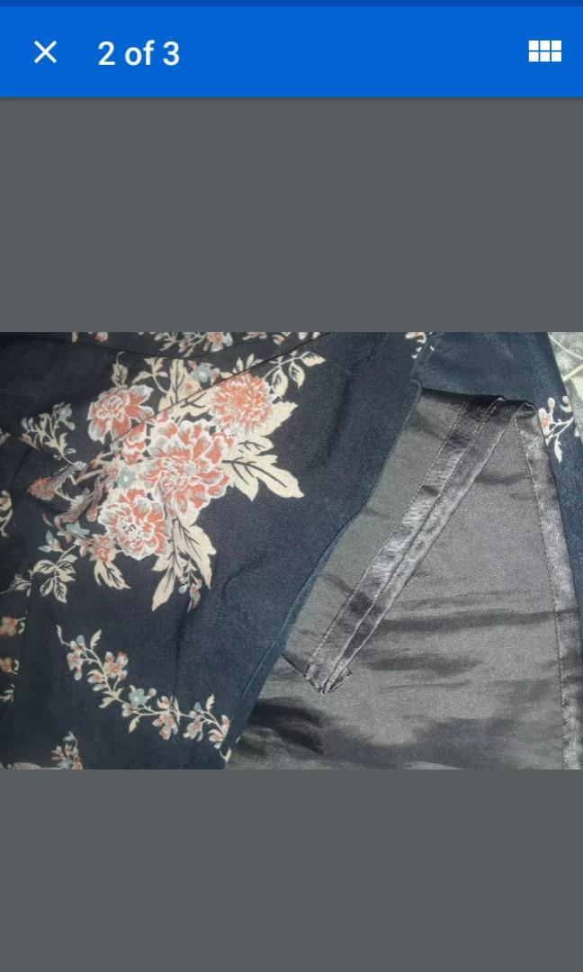 Brand new smocked vintage flower print navy blue babydoll top shirt korea XS Axis femme #SwapCA