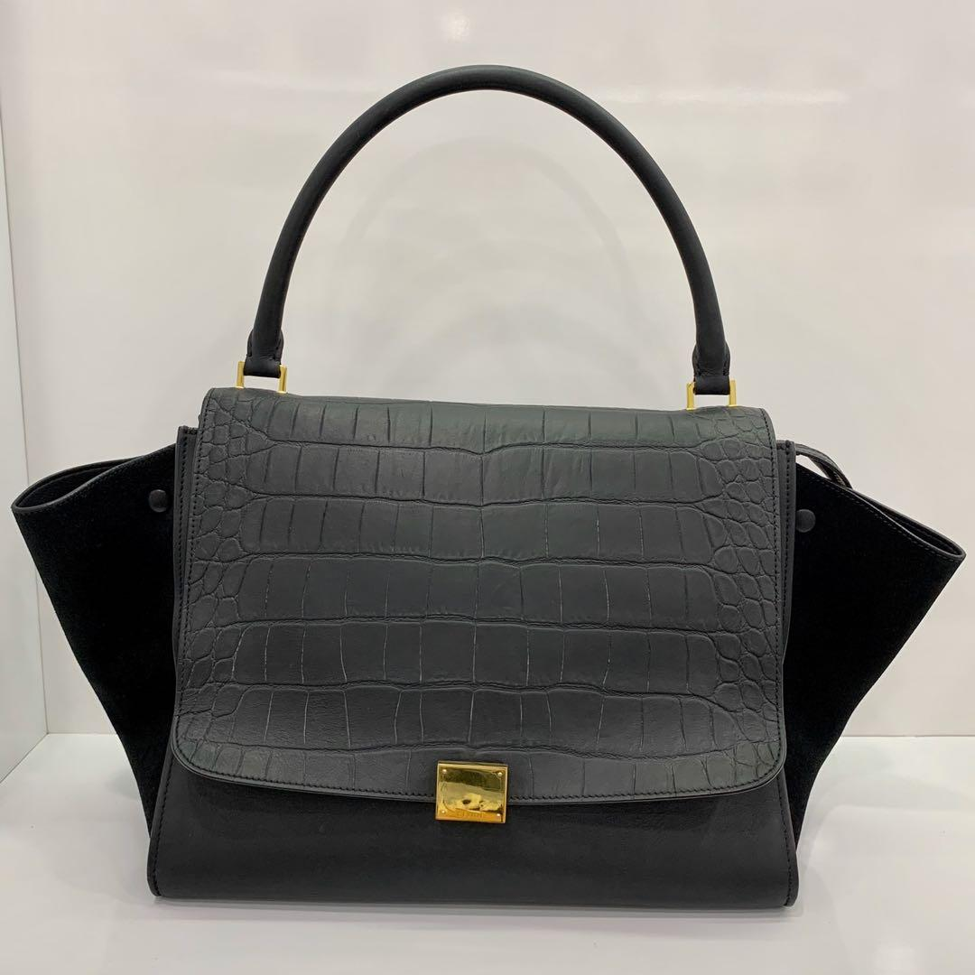 Celine Trapeze Bag  Celine CELINE trapeze medium 2way hand shoulder bag leather type push black