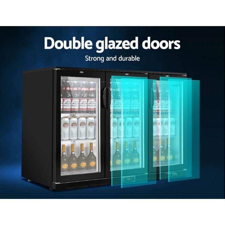 Devanti Bar Fridge 3 Glass Door Commercial Display Freeer Drink Beverage Cooler Black