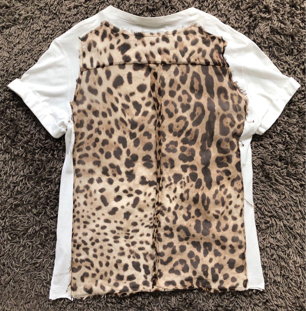 Dolce & Gabbana White T-shirt with Silk Leopard Print Back Design Made in Italy