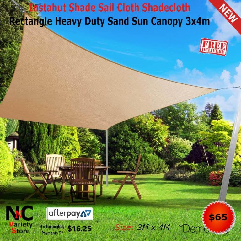 Instahut Shade Sail Cloth Shadecloth Rectangle Heavy Duty Sand Sun Canopy 3x4m
