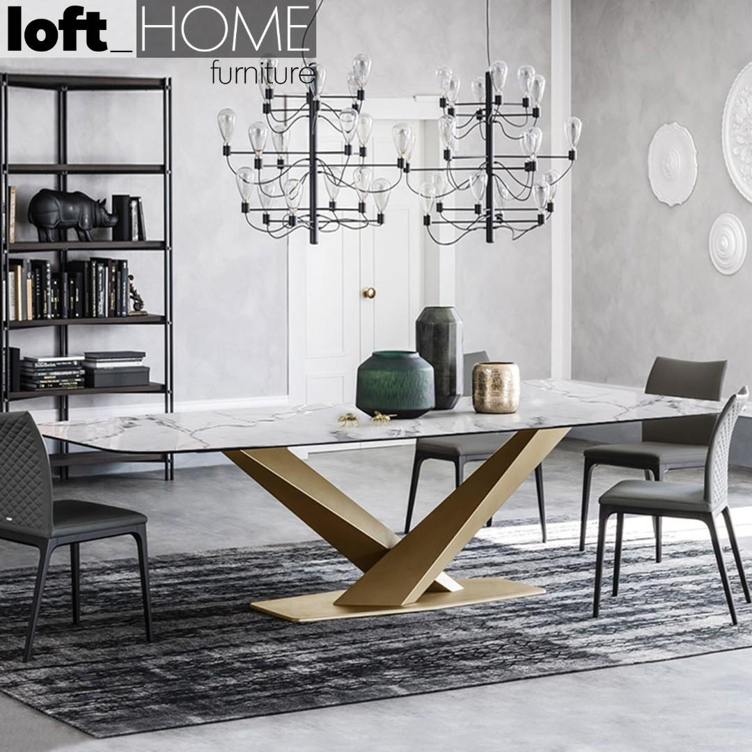 Marble / Stainless Steel Dining Table – STRATOS