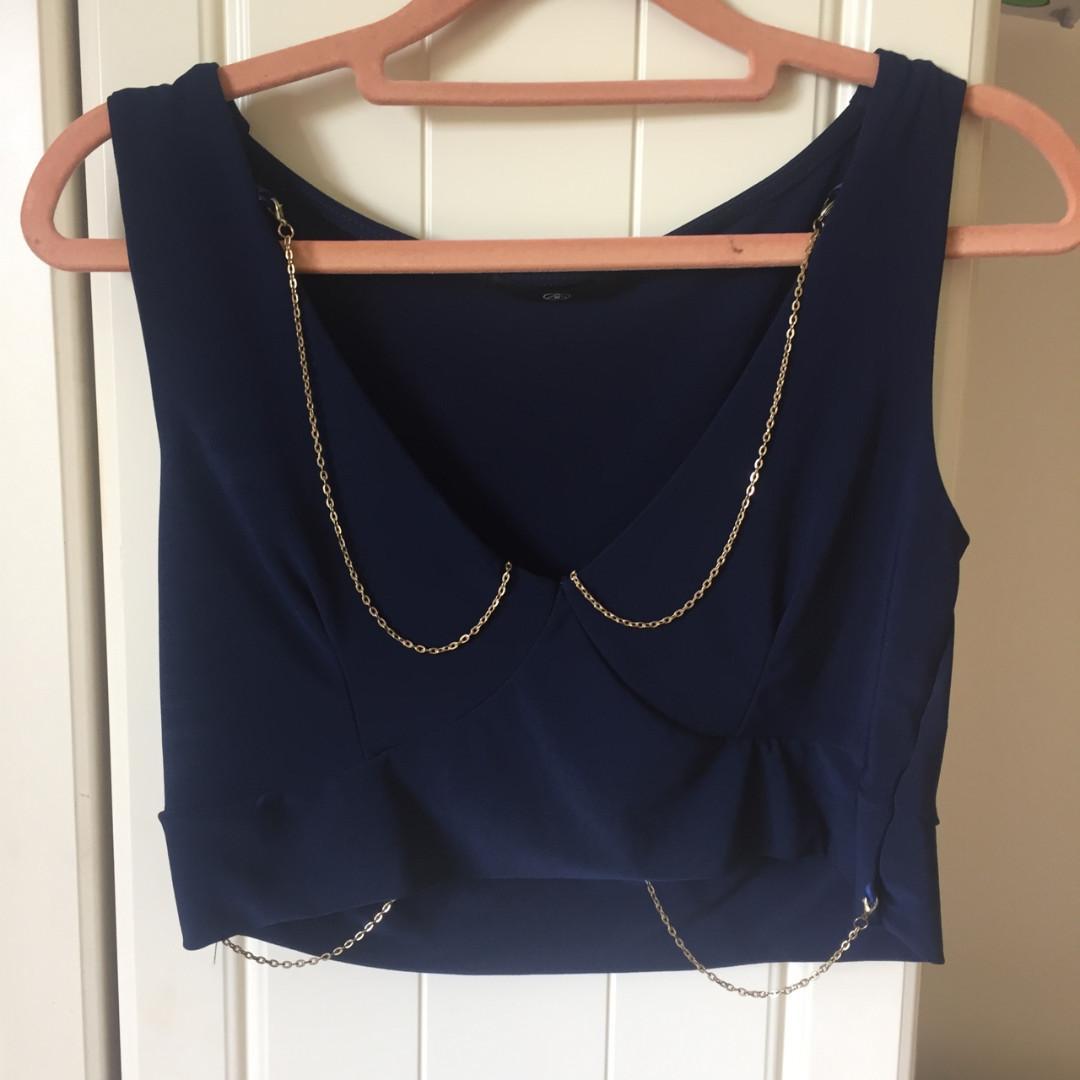 Navy Blue V-neck Gold Body Chain Detail Festival Crop Top