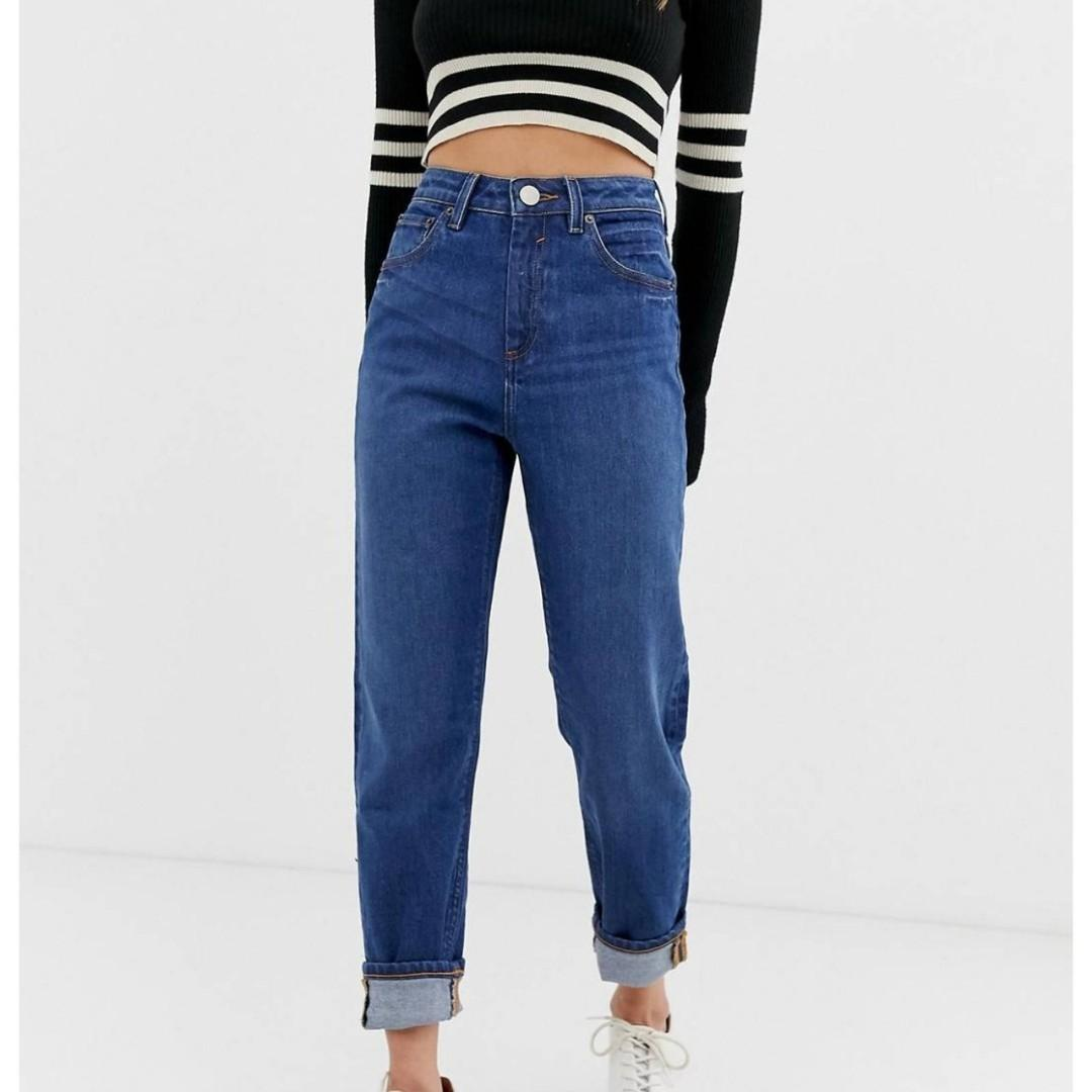 Petite Recycled Farleigh high waisted slim mom jeans in dark wash