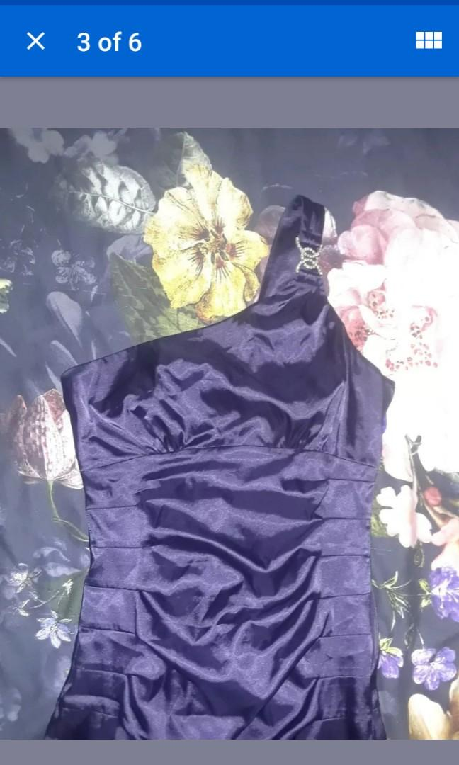 Purple Violet Silk Satin one shoulder evening cocktail dress luxury crystal deco art Small #SwapCA
