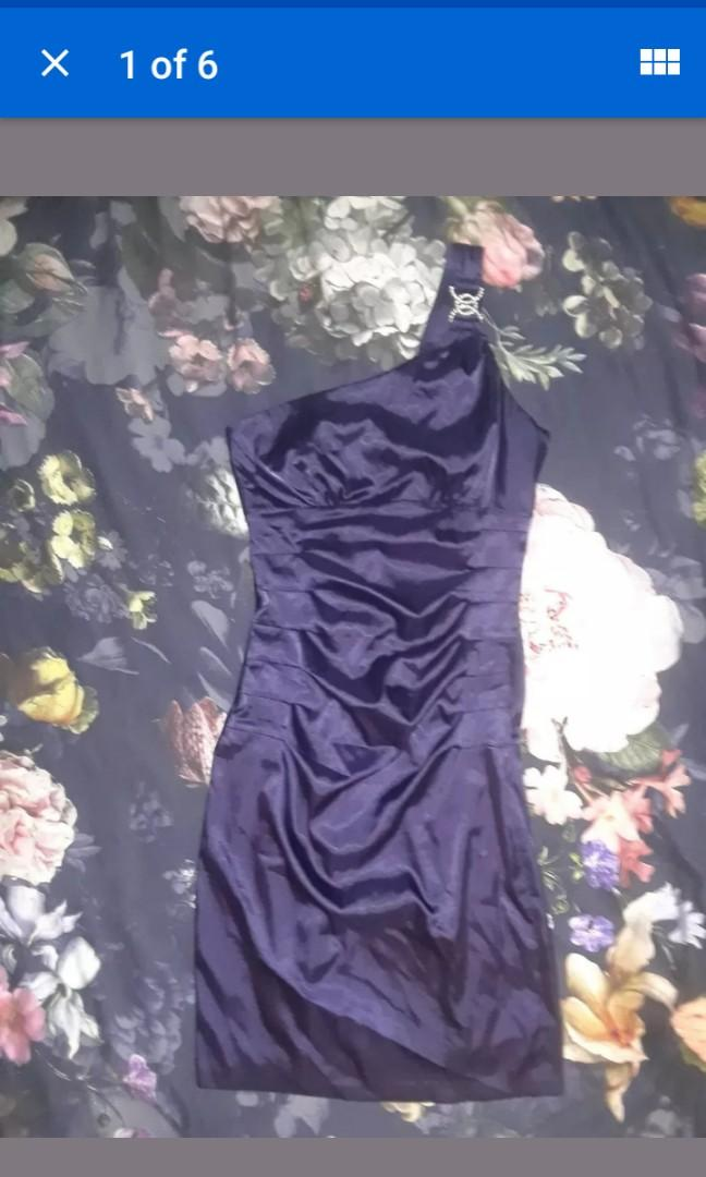 Purple Violet Silk Satin one shoulder evening cocktail dress luxury crystal deco art Small #SwapCA