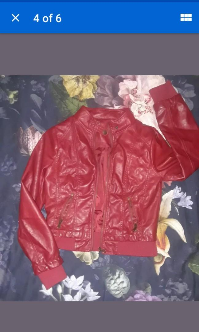 Red leather bomber fashion motorcycle collar Jacket quilted fall Autumn XS S #SwapCA