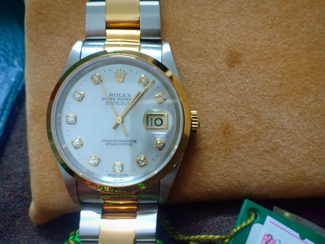 Rolex 16203 Datejust Two-Tone factory diamond indices & Mother of Pearl Dial - New with Tags