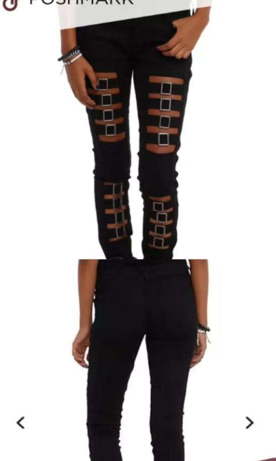 Royal Bones Black denim skinny pants buckles cut out goth punk Small #SwapCA