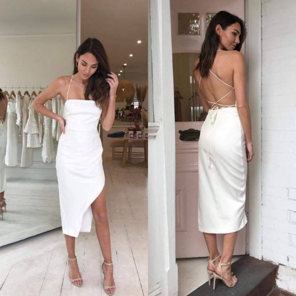 BNWT RRP $399 Manning Cartel Status Update Backless Dress White Size 8