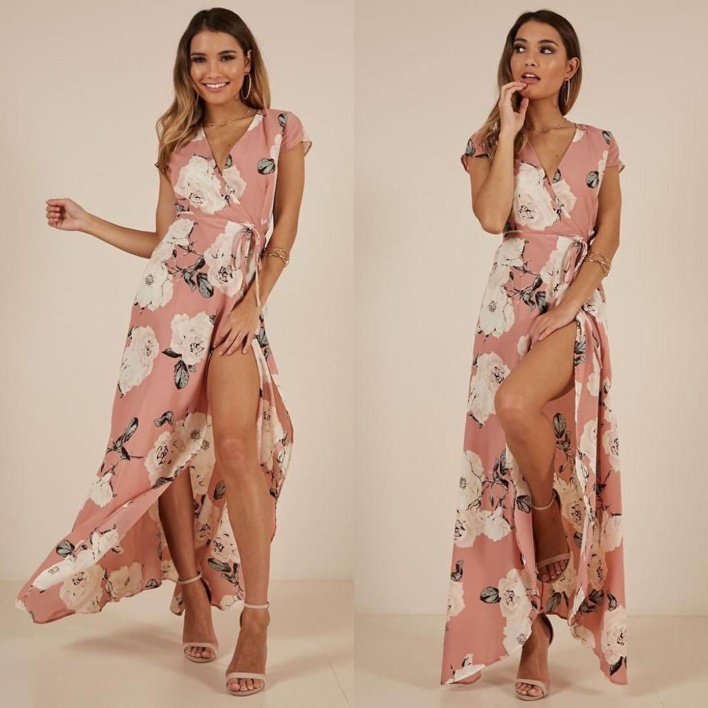 RRP $69.95 Showpo Wrap Maxi Dress Floral Dusty Pink Size 4 / XXS