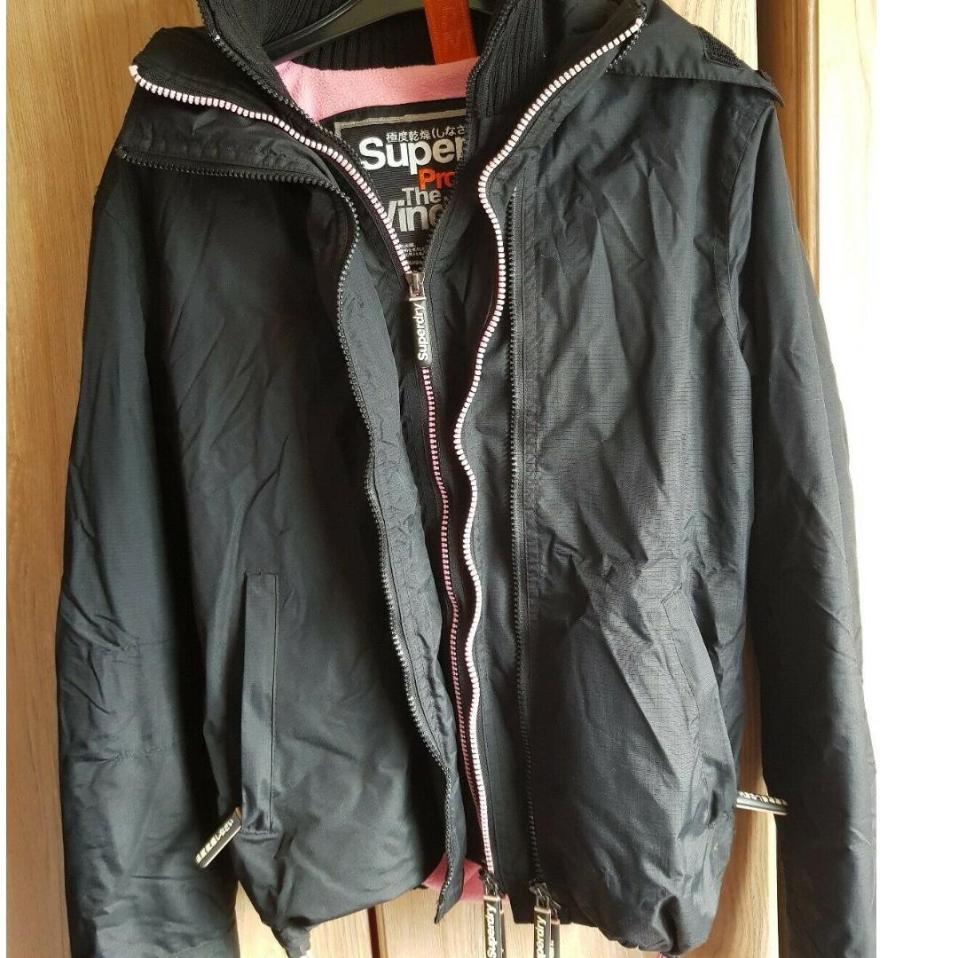Superdry jacket black pink size s